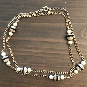 J Crew Pearl & Pave Necklace with Black Stripe